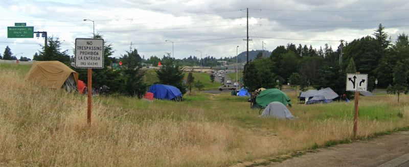 VIA GOOGLE MAPS - A campsite on the Interstate 205 off-ramp near Divison Street is shown here in June, 2019.