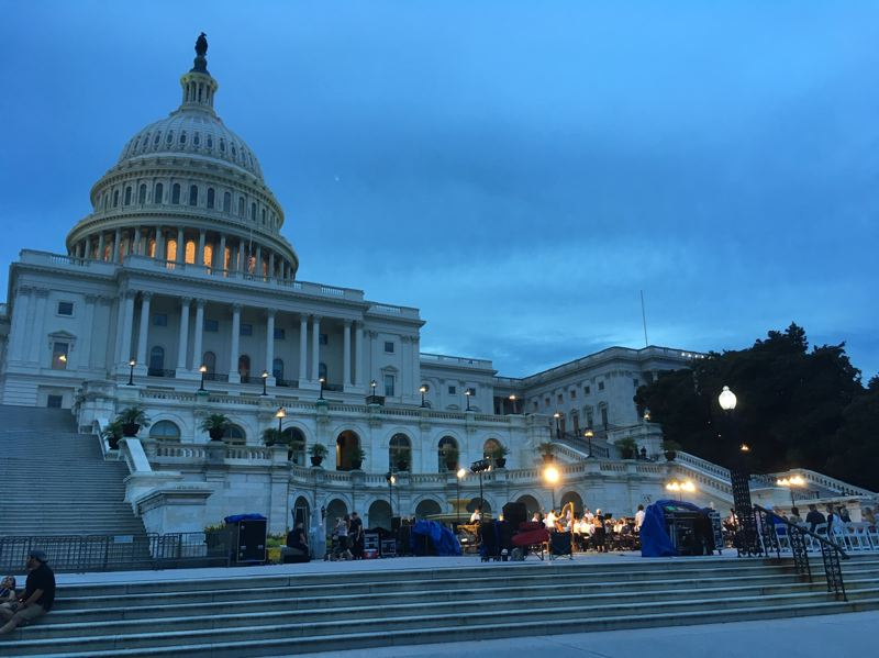 PMG PHOTO BY PETER WONG - The U.S. Capitol at dusk in August 2018. Sen. Ron Wyden will support and Sen. Jeff Merkley will oppose President Donald Trump's nomination of Washington County Judge Danielle Hunsaker to the 9th U.S. Circuit Court of Appeals. A Senate vote is scheduled Tuesday, Nov. 5.