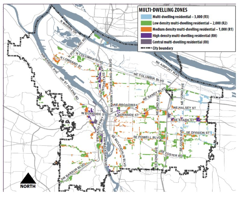 COURTESY BPS - A map of existing multi-family housing zones in Portlnd.