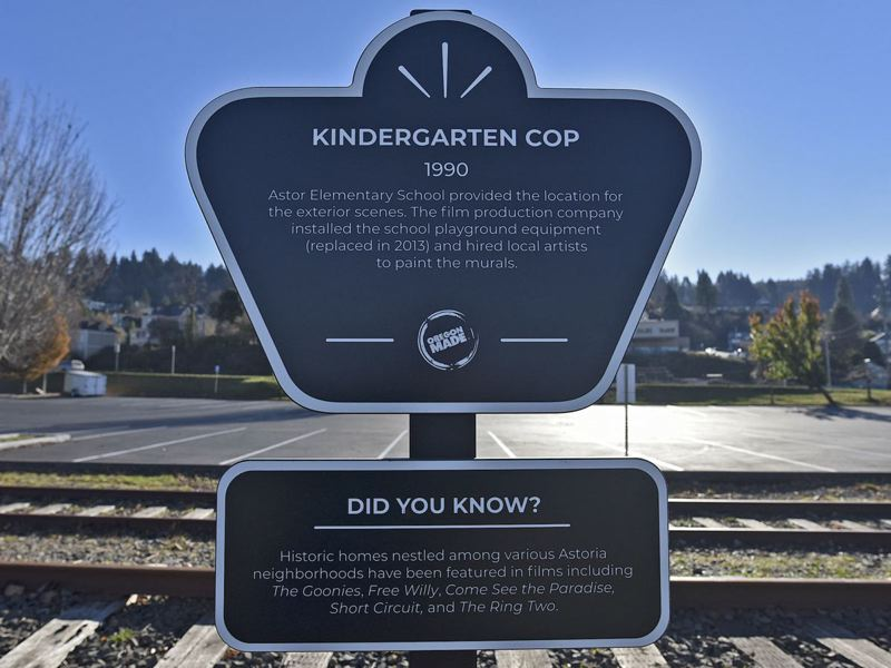 COURTESY PHOTO: OREGON FILM - A sign for 'Kindergarten' Cop stands in Astoria.