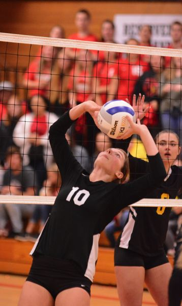 PMG PHOTO: DAVID BALL - Corbetts Morgan Stafford pops a back-set out of the front row during Saturdays three-set loss to Philomath in the 4A playoffs.