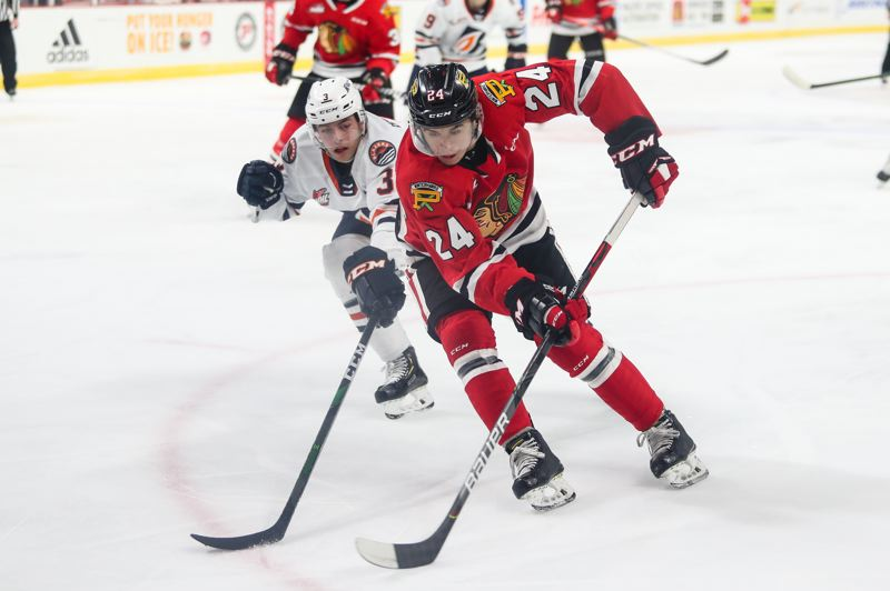COURTESEY PHOTO: PORTLAND WINTERHAWKS/KEITH DWIGGINS - Seth Jarvis (24) had two goals and an assist but the Winterhawks fell short 6-5 to the Kamloops Blazers on Sunday.