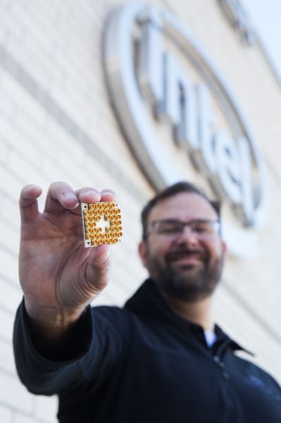 PHOTO: INTEL CORPORATION - Jim Clarke, Intel Corporation's director of quantum hardware, holds an Intel 49-qubit quantum test chip, called Tangle Lake.