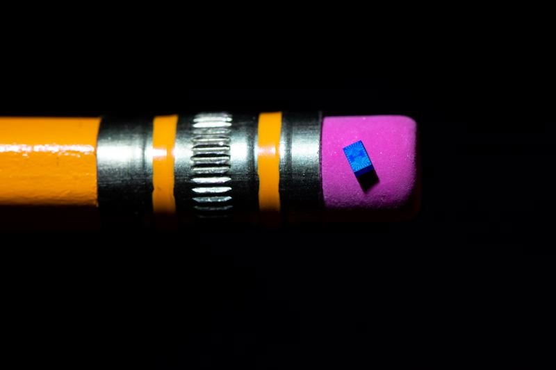 PHOTO: TIM HERMAN/INTEL CORPORATION - A 2018 photo shows Intel's new quantum computing chip balanced on a pencil eraser. Researchers started testing this spin qubit chip at the extremely low temperatures necessary for quantum computing: about 460 degrees below zero Fahrenheit. Intel projects that qubit-based quantum computers, which operate based on the behaviors of single electrons, could someday be more powerful than today's supercomputers.