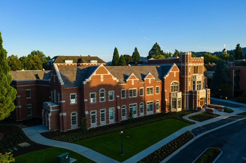 COURTESY: UNIVERSITY OF PORTLAND - Dundon-Berchtold Hall, the newest building on the University of Portlands campus, serves as the home of the Dundon-Berchtold Institute for Moral Formation and Applied Ethics. The $34 million cost for the project was covered by more than 25 individual donations, the largest of which came from Amy Dundon-Berchtold and her husband Jim Berchtold.