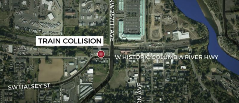 VIA KOIN 6 NEWS - A map shows the location of a fatal train collision in Troutdale.
