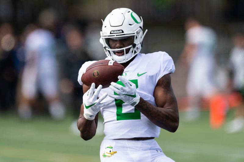 PMG FILE PHOTO: CHRISTOPHER OERTELL - Juwan Johnson has come on at wide receiver for the Oregon Ducks, whose offense has picked up the pace, too, in the quest for a Pac-12 championship and College Football Playoff berth.