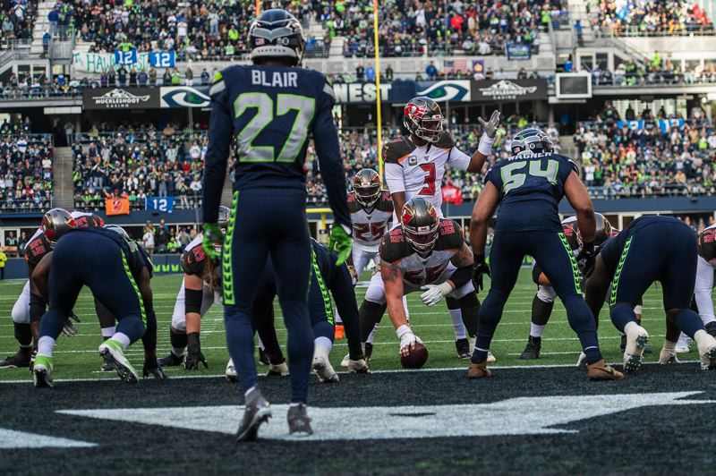 MICHAEL WORKMAN PHOTO - The Seattle defense lines up in its end zone against Tampa Bay.