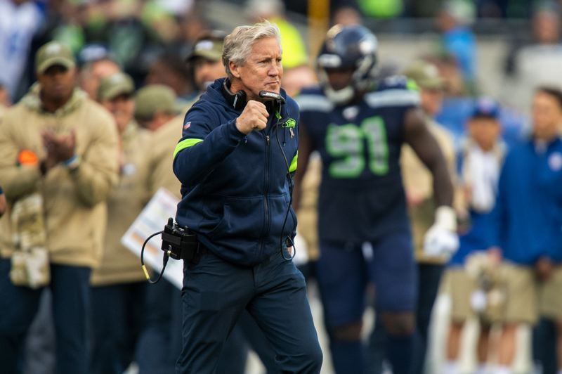 MICHAEL WORKMAN PHOTO - Seahawks coach Pete Carroll reacts to a score by his team.