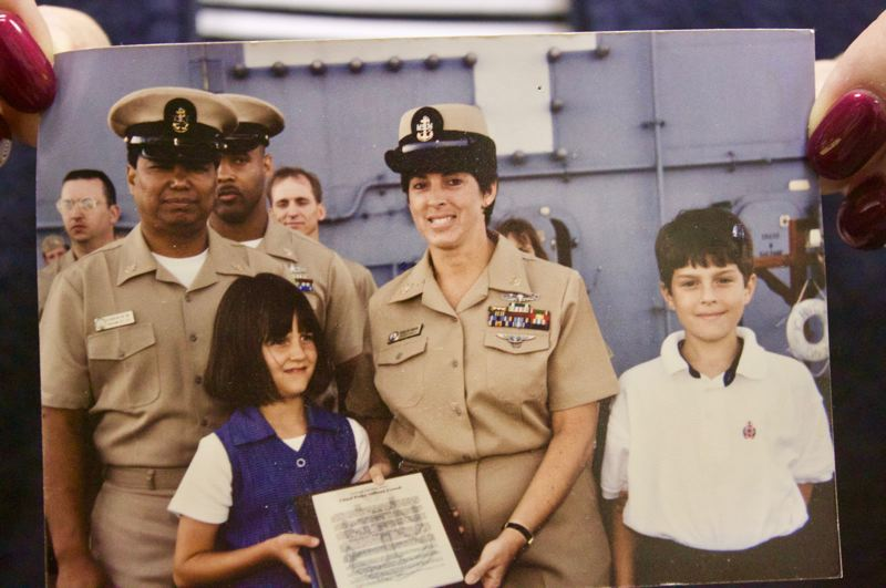 SUBMITTED PHOTO: KARINA YODER - Alyssa and Jeff Mangione helped their mother, Karina Yoder, celebrate her promotion to Chief Petty Officer during a ceremony Sept. 16, 1998.