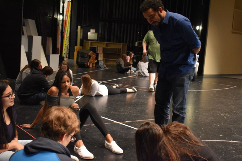 PMG PHOTO: RAYMOND RENDLEMAN - Nationally acclaimed actor Armando McClain works with Oregon City High School students during an Oct. 24 visit.