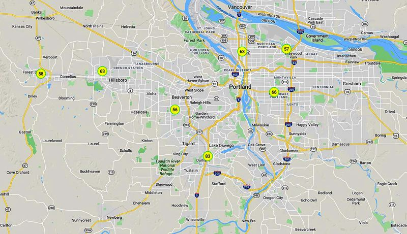 (Image is Clickable Link) COURTESY MAP/DEQ - A DEQ map shows the moderate air quality numbers for the Portland area.
