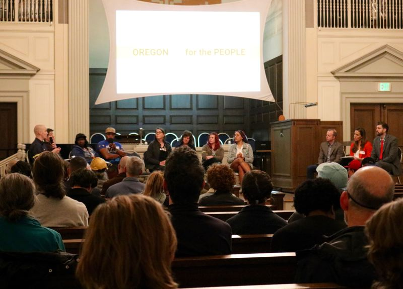 PMG PHOTO: ZANE SPARLING - Multnomah County residents got their first chance to hear from the candidates for district attorney during a forum hosted by Oregon DA for the People at First Unitarian Universalist church in downtown Portland.