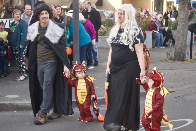 PMG PHOTO: CHRISTOPHER KEIZUR - Westeros favorite couple visited downtown Gresham with their dragons for Halloween.