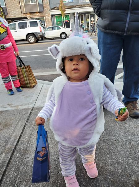COURTESY PHOTO: DIANE CASTILLO-WHITE - No child was too small to score treats at Troutdales Trick-or-Treat Trail event along Historic Columbia River Highway.