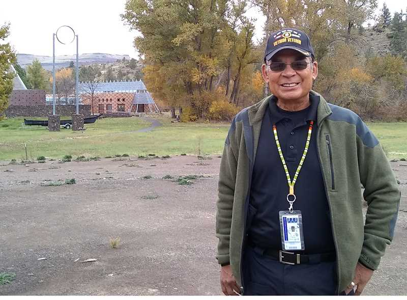 TERESA JACKSON/MADRAS PIONEER - Vietnam Veteran Dan Martinez stands at the future home of the veterans memorial at The Museum at Warm Springs. Martinez and others are working on the project, which will have fountains and an eternal flame.