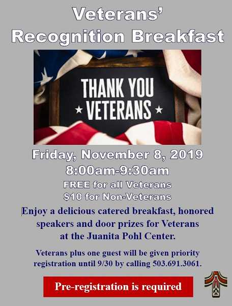 COURTESY CITY OF TUALATIN - A breakfast honoring veterans is set for this Friday at the Juanita Pohl Center in Tualatin.