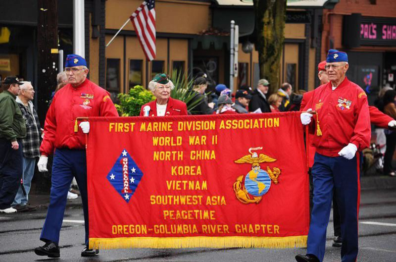PMG FILE PHOTO - Portland-area veterans have marched in the Ross Hollywood Chapel's Veterans Day parade for 40 years.