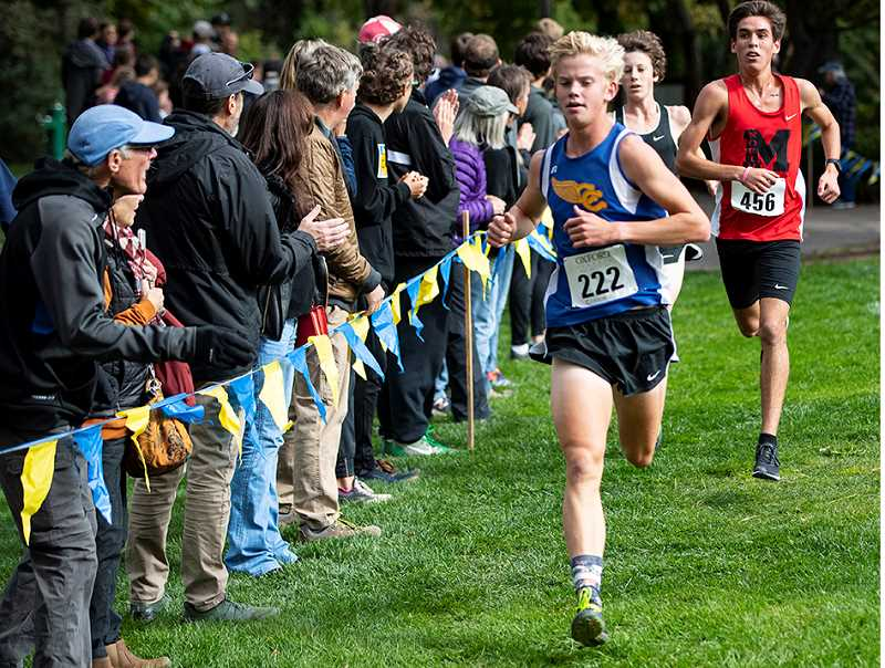 LON AUSTIN/CENTRAL OREGONIAN - Shown at the Oxford Classic, Alec Carne took the individual championship at the Intermountain Conference Cross Country meet, helping the Cowboys to a second place finish and a return trip to state.