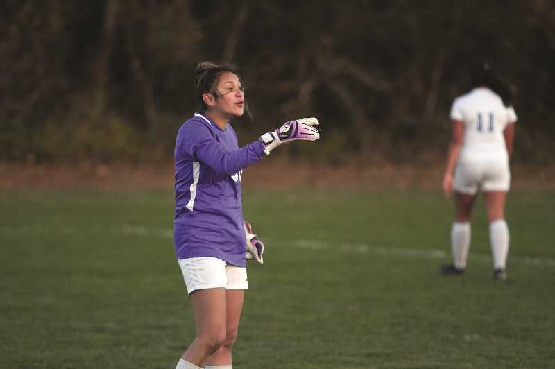 PMG PHOTO: PHIL HAWKINS - Woodburn senior keeper Carla Zamora has recorded six shutouts this season, as the Bulldogs have given up just 12 goals total following the first game of the season.
