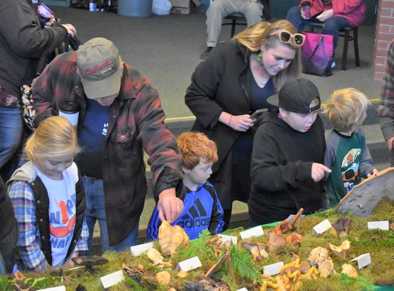 PMG PHOTO: EMILY LINDSTRAND - Festival of the Fungus attendees study the many mushrooms on display at the gathering.