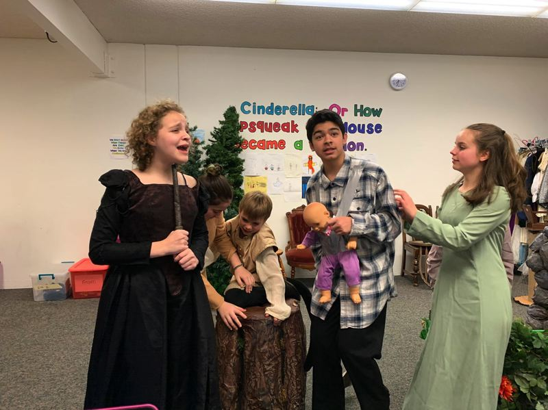 COURTESY PHOTO: EASTSIDE THEATER COMPANY - Cast members rehearse for Cinderella: Or How Pipsqueak the Mouse Became a Stallion, which will alternate with Frozen Jr. in four November performances at Springwater Church.