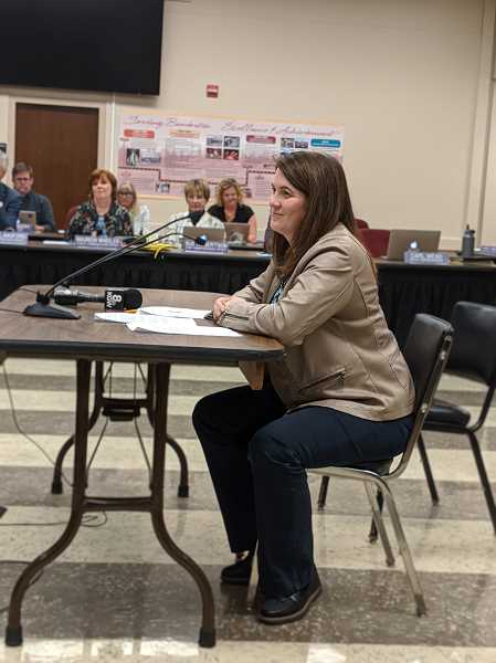 PMG PHOTO: COURTNEY VAUGHN - Erin Miles, principal at Fir Grove Elementary School, addresses the Beaverton School Board on Oct. 28. Miles said she and others within the Beaverton School District are trying to get to the root cause of student violence and disruptive behavior.