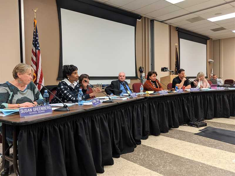 PMG PHOTO: COURTNEY VAUGHN - Beaverton School Board members respond to an update from Fir Grove Elementary School Principal Erin Miles during a board meeting Oct. 28. Earlier that evening, parents complained of ongoing bullying issues at the school.