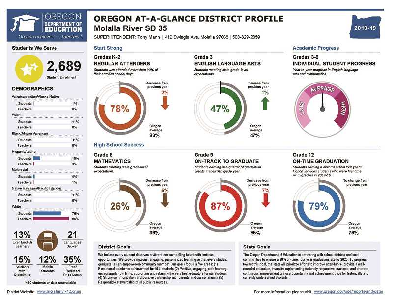 COURTESY GRAPHIC - The Molalla River School District at a glance.