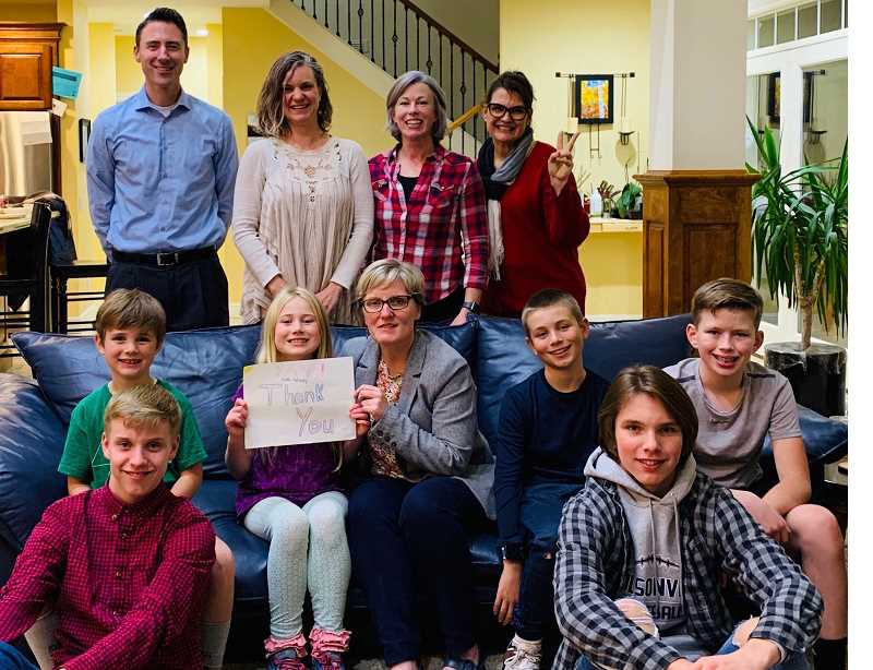 COURTESY PHOTO - Members of the West Linn-Wilsonville School Board, Superintendent Kathy Ludwig and others gathered together on election night.