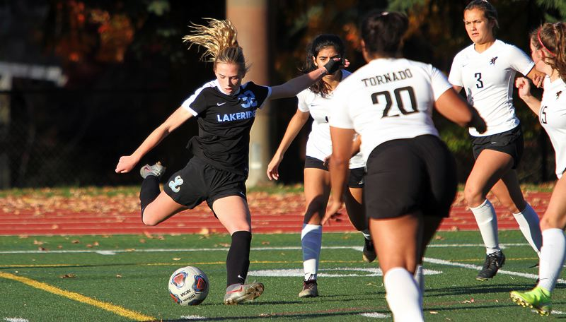 PMG PHOTO: MILES VANCE - Lakeridge's Tess French (shown here against North Medford) and the Pacers saw their season end in a 2-1 loss at Tualatin in the second round of the Class 6A state playoffs on Tuesday, Nov. 5.