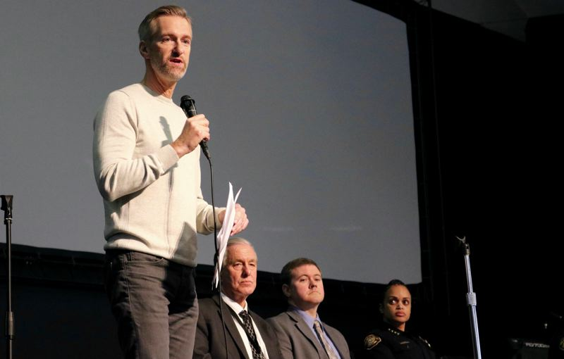 PMG PHOTO: ZANE SPARLING - Portland Mayor Ted Wheeler speaks during a town hall on gun violence in a Lents neighborhood church on Tuesday, Nov. 5.