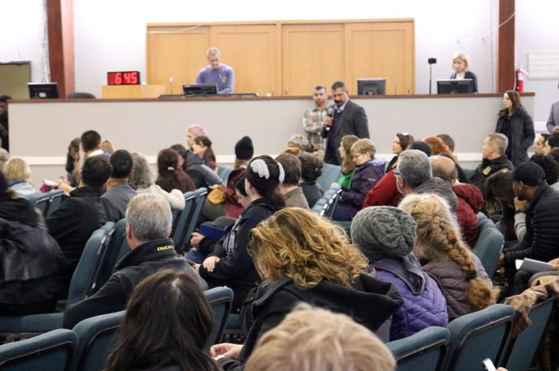 PMG PHOTO: ZANE SPARLING - The crowd listens to an audience member during an East Portland townhall in Lents on Nov. 5.