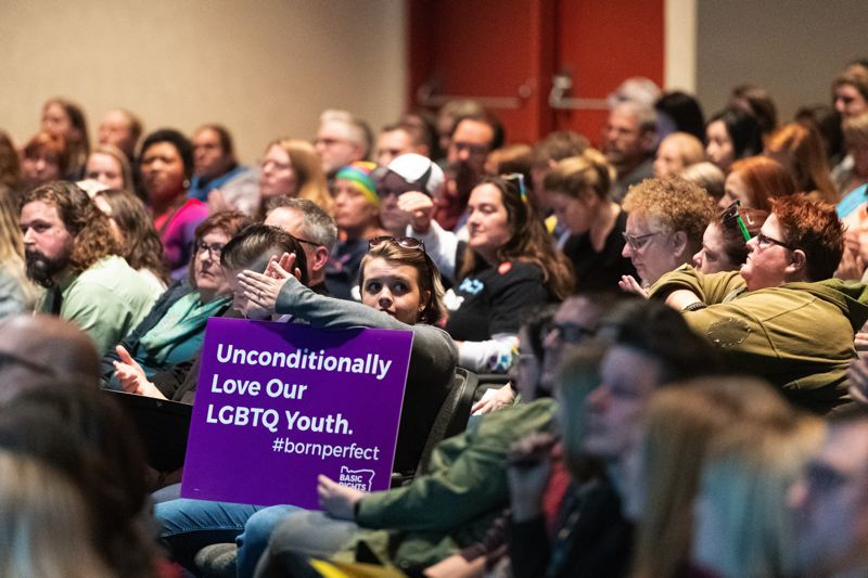 PMG PHOTO: CHRISTOPHER OERTELL - Members of the group Basic Rights Oregon advocated for the Hillsboro School Board to adopt its new comprehensive sexuality education plan at a board meeting Tuesday, Oct. 29.