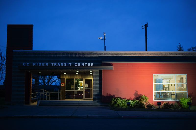 PMG PHOTO: ANNA DEL SAVIO - Columbia County Rider's transit center in St. Helens is where many routes originate, but activity may slow at the transit center as service cuts loom.