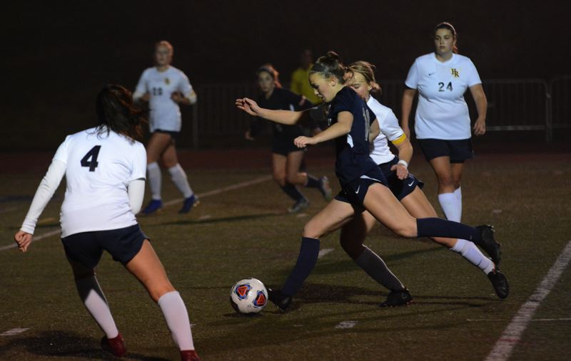 PMG PHOTO: DEREK WILEY - Wilsonville sophomore Lindsey Antonson scored six goals against Hood River Valley Tuesday night in the first round of the Class 5A playoffs.