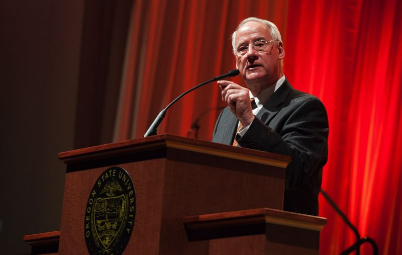 PMG FILE PHOTO - OSU President Ed Ray plans to step down in June 2020 from the position he's held for 17 years. A search committee has narrowed its list of candidates to replace him to four.