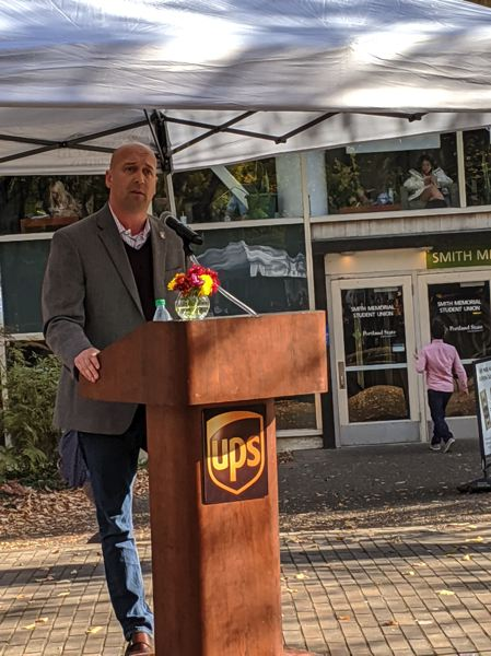 PMG: JOSEPH GALLIVAN - United Parcel Service President Joe Braham explains how breen Big Brown is as he introduces a pilot scheme for UPS eBike delivery trikes. They will operate on the Portland State University campus starting Nov. 18, 2019.