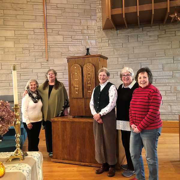 PGM PHOTOS: BARB RANDALL  - From left are Esther Schwartz, Cheryll Simmerman, Sharon Davis, Barbara Gold and Karin Stolz, some of the organizers of the Interfaith Service of Gratitude taking place Nov. 21 at 7 p.m. at Lake Oswego United Church of Christ. All are invited to attend.