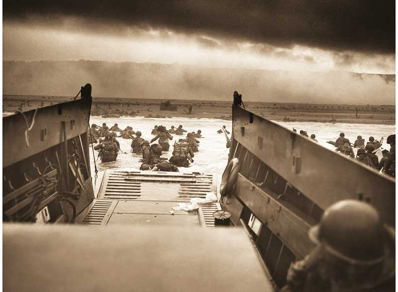 PHOTO COURTESY OF NATIONAL ARCHIVES - The view from a Higgins Boat, the landing craft primarily used to ferry troops onto the beaches of France during the D-Day invasion, shows the expanse of sea and sand soldiers faced on that fateful day in June 1944.