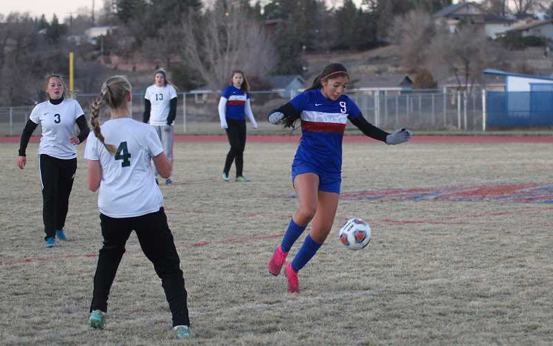 STEELE HAUGEN - Senior Kelsey Olivera plays in her senior night game against Estacada Oct. 29. Madras lost 1-0 to the Rangers, finishing the season with a 3-11 overall record.