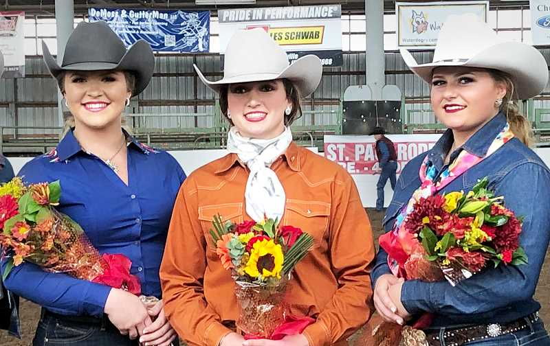 SUBMITTED PHOTO - The 2020 St. Paul Rodeo Royal Court consists of Princess Monica Eichler (left), Queen Kearsten Friedrich and Princess Saige Johns (right).