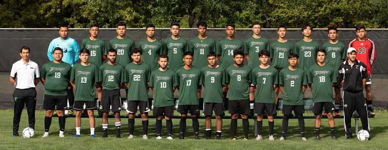 COURTESY PHOTO: CHEMEKETA COMMUNITY COLLEGE MEN'S SOCCER - The Chemeketa Community College men's soccer program features six former Woodburn High School athletes — Jose Ochoa, Edwin Silva, Jesus Rodriguez, Osvaldo Barajas, Salvador Perez and Pedro Hernandez — who will be competing in the NWAC quarterfinals against Spokane on Saturday at Woodburn High School.
