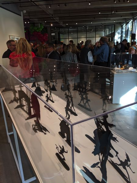 PAMPLIN MEDIA GROUP: JOSEPH GALLIVAN  - Guests get a first look at the art at the new Jordan Schnitzer Museum of Art at Portland State University, including these Cara Walker silhouettes depicting atrocities against slaves.