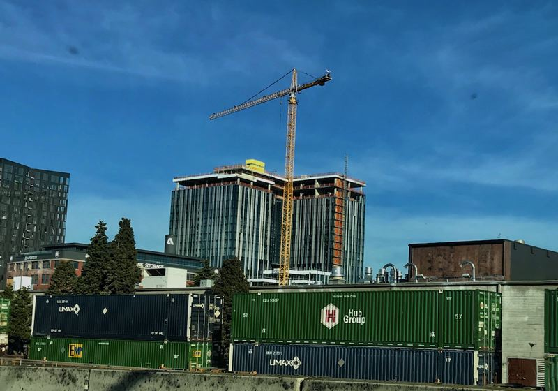 PMG PHOTO: ZANE SPARLING - A construction crane is shown here in early November in inner Northeast Portland.