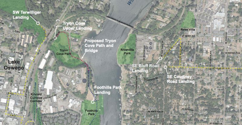 COURTESY - A map showing a proposed landing area for the bridge.