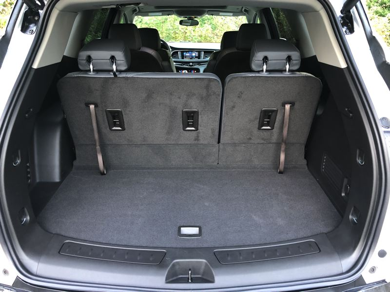PMG PHOTO: JEFF ZURSCHMEIDE - Cargo capacity in the 2020 Buick Enclave  is excellent, with up to 97.6 cubic feet behind the front row seats. You also get a 10-inch deep storage compartment under the floor for occasional use items like emergency kits.