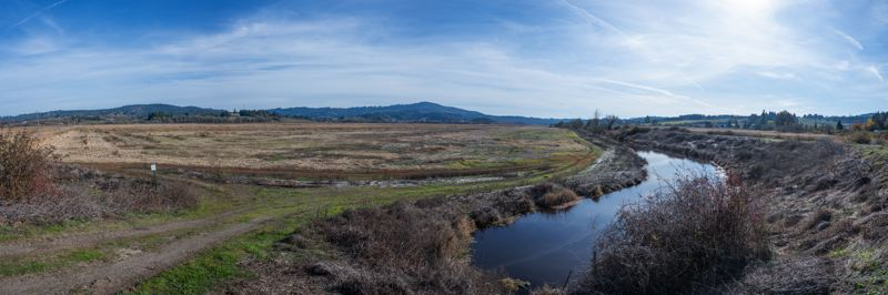 PMG PHOTO: CHRISTOPHER OERTELL - A channel separates the levy, at right, that surrounds much of Wapato Lake from the lakebed, at left, which is dry for much of the year.