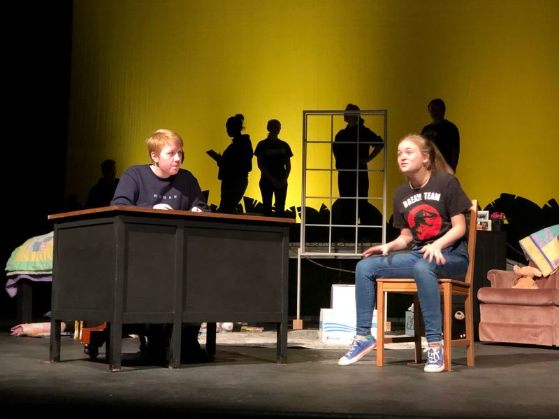 COURTESY PHOTO: KELLIE MCCARTY - Beatrice Byrd as Wendy talks to the detective, played by Morgan Bass, about finding Peter Pan in a recent rehearsal for Lost Girl.