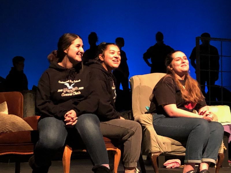 COURTESY PHOTO: KELLIE MCCARTY - Wendys alter-egos, from left, Maggie Redden, Jessica Cabrera and Kendall Hemmer discuss how it felt to be in Neverland.
